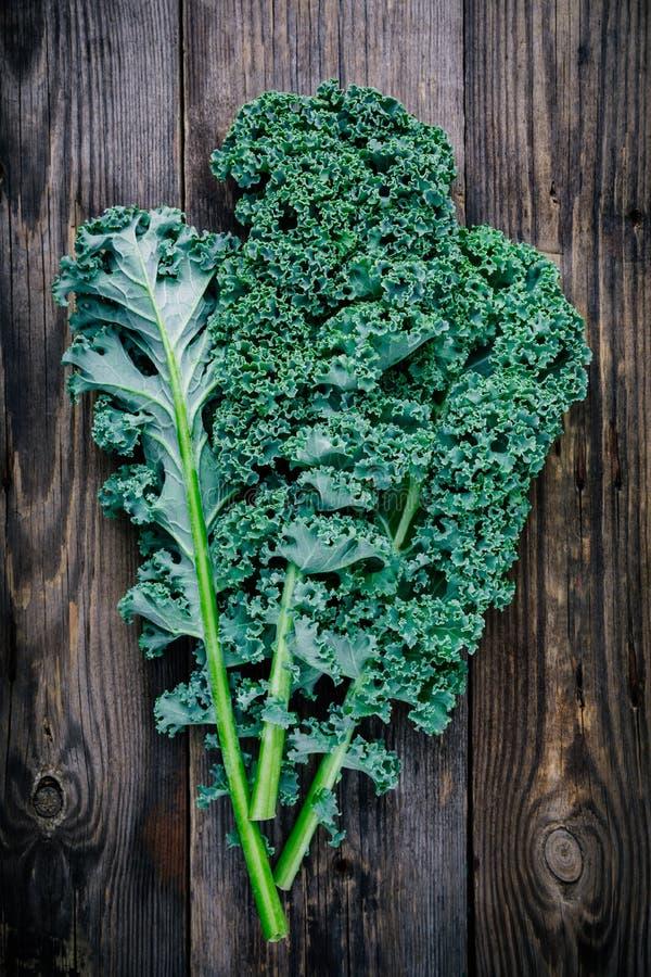 A couve encaracolado da couve verde crua fresca do superfood sae fotografia de stock royalty free