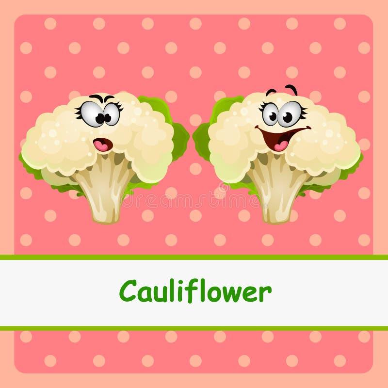 Couve-flor, caráteres engraçados no fundo cor-de-rosa ilustração royalty free