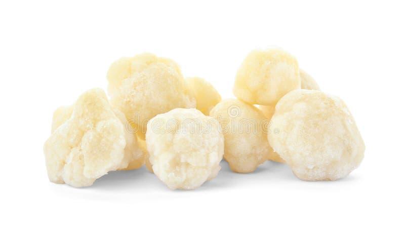Couve-flor congelada no fundo branco Preservação vegetal fotos de stock