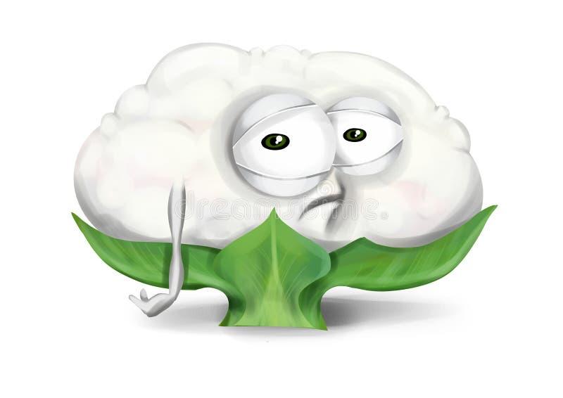 Couve-flor triste, personagem de banda desenhada vegetal desapontado com olhos infelizes ilustração stock