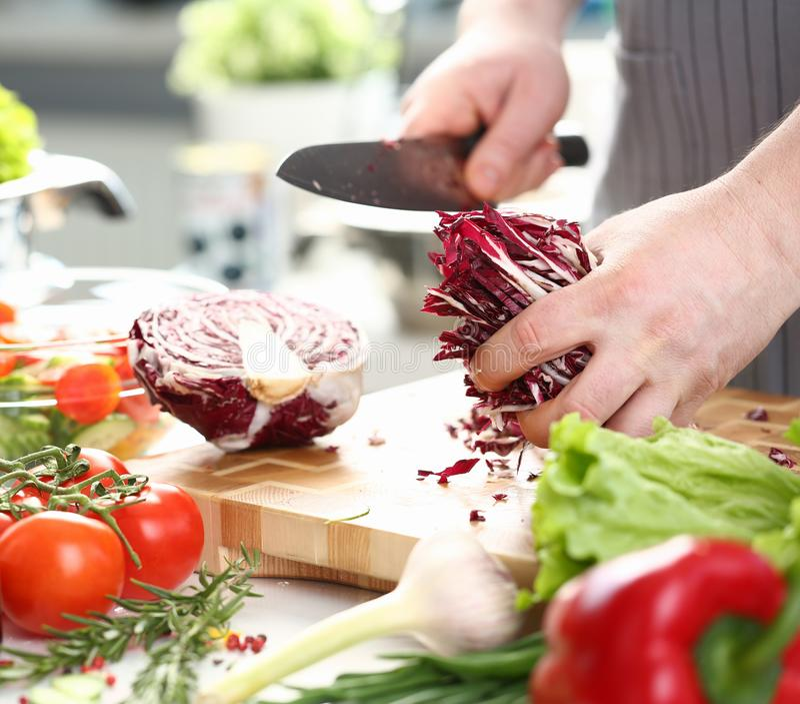 Couve roxa de Holding Sliced Chopped do cozinheiro chefe masculino fotografia de stock