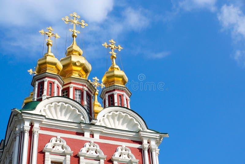 Couvent de Novodevichy à Moscou Transfiguration de sauveur d'église au-dessus de la porte du nord fragment image stock