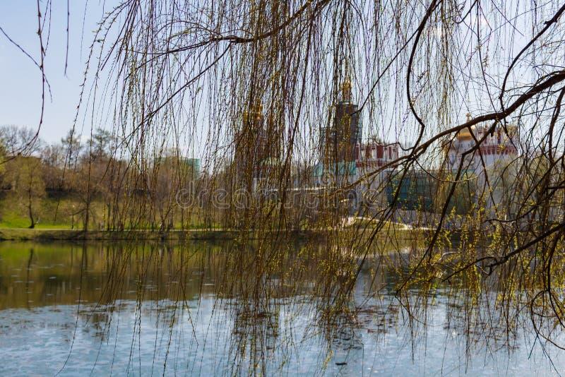 Couvent de Novodevichy, vue de l'étang de Bolshoi Novodevichy Moscou, Russie photographie stock libre de droits