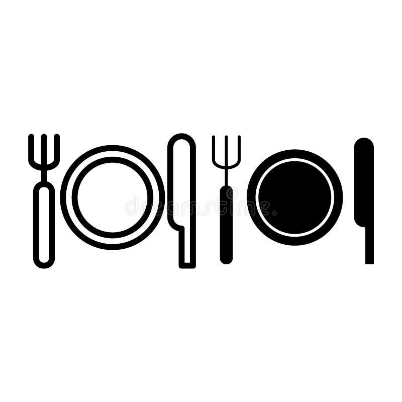 Couvert avec la ligne de plat, de couteau et de fourchette et l'icône de glyph Illustration de vecteur de couverts d'isolement su illustration stock