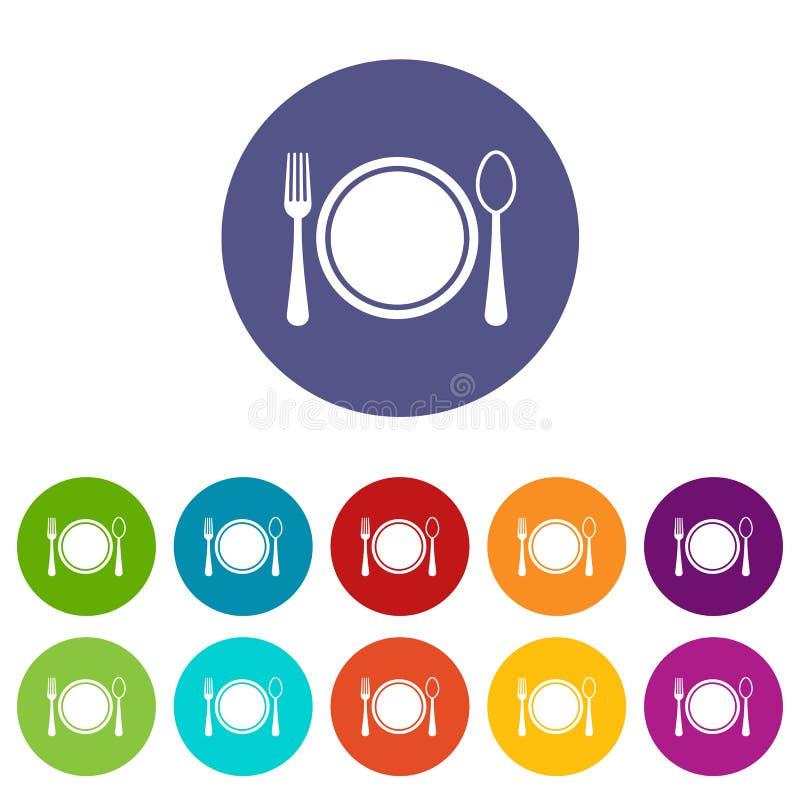 Couvert avec les icônes réglées de plat, de cuillère et de fourchette illustration stock