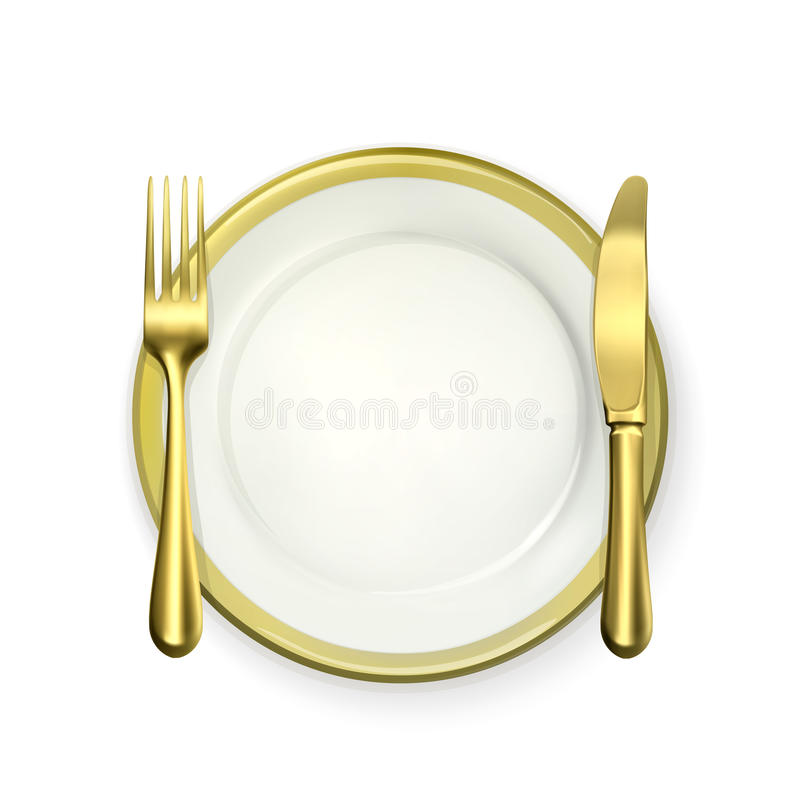 Couvert de dîner d'or illustration stock