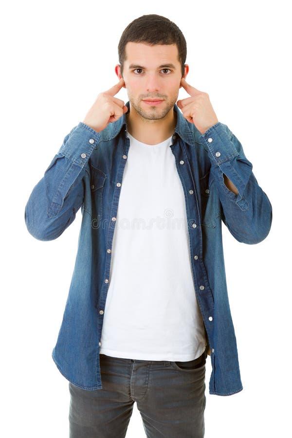 Couvert de ses oreilles image stock