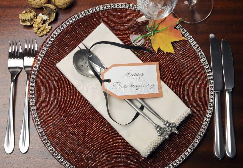 Couvert de table de dîner de thanksgiving - vue aérienne photo libre de droits
