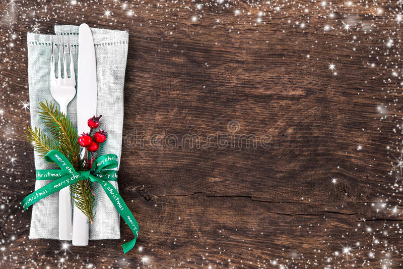 Couvert de table de Noël photographie stock