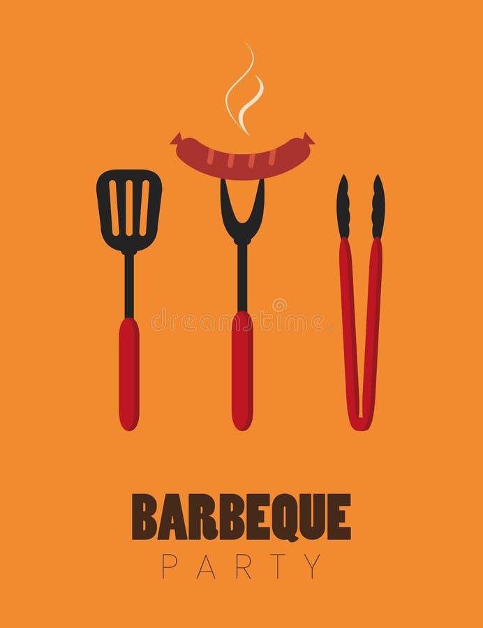 Couverts de barbecue de partie de BBQ avec des saucisses illustration de vecteur