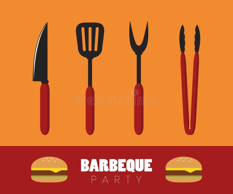 Couverts de barbecue de partie de BBQ avec l'hamburger illustration de vecteur