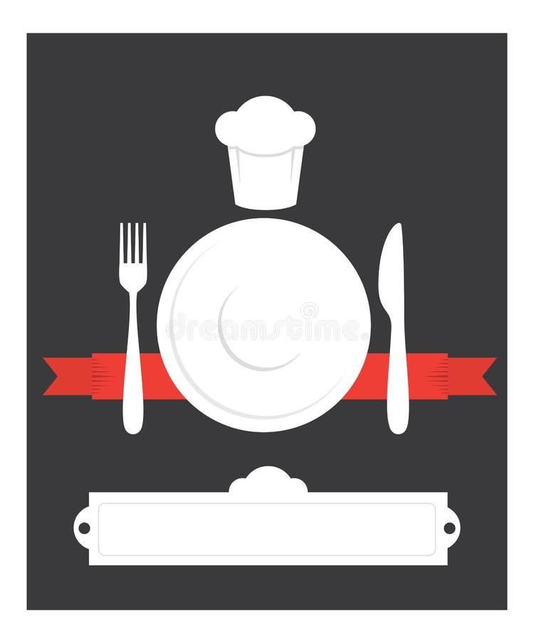 Couverts de cuisine de carte de café illustration libre de droits
