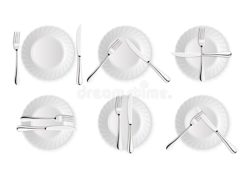 Couverts et signes réalistes d'étiquette de table, icônes de vecteur d'isolement sur le fond blanc Fourchette, couteau et plat de illustration stock