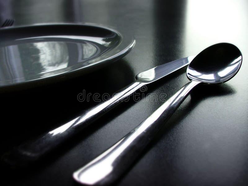 Couverts noirs et blancs photographie stock libre de droits