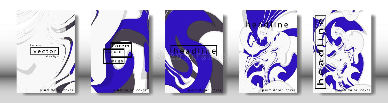 Couverture abstraite avec les éléments liquides concept de construction de livre Disposition futuriste d'affaires illustration stock