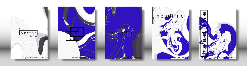 Couverture abstraite avec les éléments liquides concept de construction de livre Disposition futuriste d'affaires illustration libre de droits