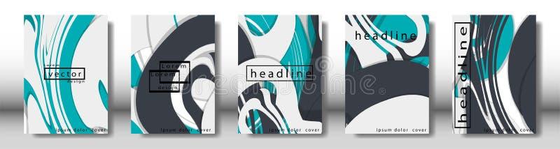 Couverture abstraite avec les éléments liquides concept de construction de livre Disposition futuriste d'affaires Calibre d'affic illustration de vecteur