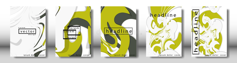 Couverture abstraite avec les éléments liquides concept de construction de livre Disposition futuriste d'affaires Calibre d'affic illustration libre de droits