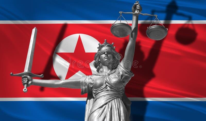 Couverture au sujet de loi Statue d'un dieu de juge Themis avec le drapeau du fond de la Corée du Nord Statue originale de justic illustration libre de droits