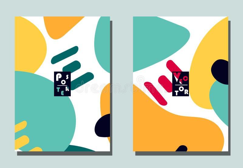 Couverture avec les éléments graphiques - formes abstraites Deux insectes modernes de vecteur dans le style d'avant-garde Papier  illustration de vecteur