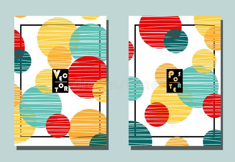 Couverture avec les éléments graphiques - points Jaune, orange, point de polka rouge et bleu fleuri illustration de vecteur