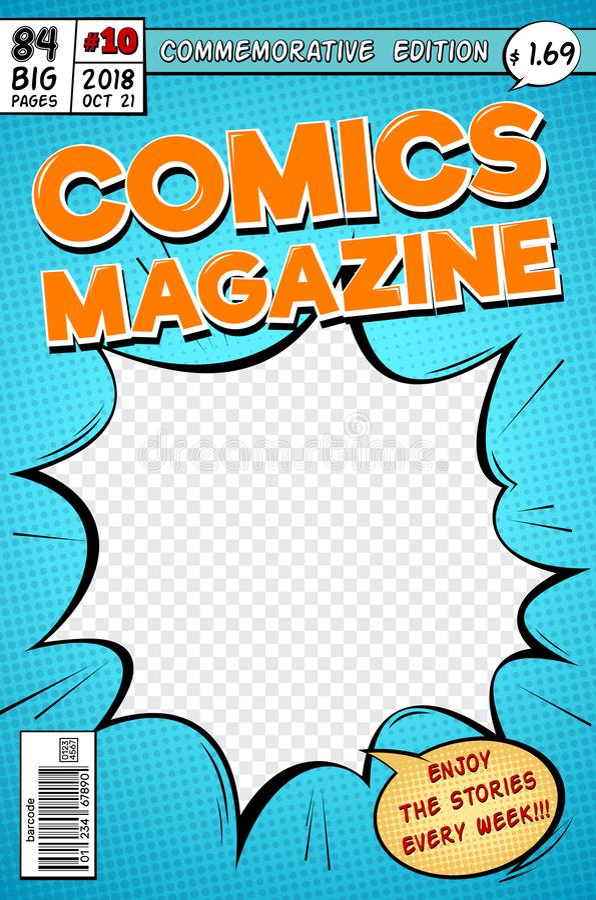 Couverture de bande dessinée Rétro magazine de bandes dessinées de bande dessinée Calibre de vecteur dans le style d'art de bruit illustration libre de droits