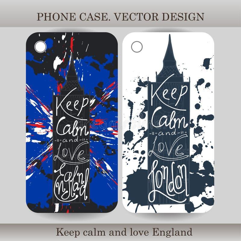 Couverture de cas de téléphone avec l'illustration tirée par la main de l'Angleterre Concevez avec le drapeau, le bâtiment et le  illustration de vecteur
