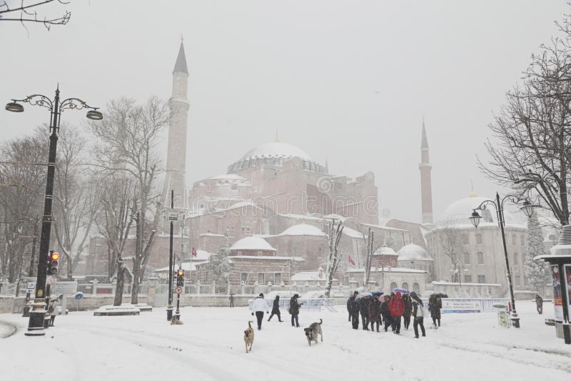Couverture de Hagia Sophia avec la neige à Istanbul photo libre de droits