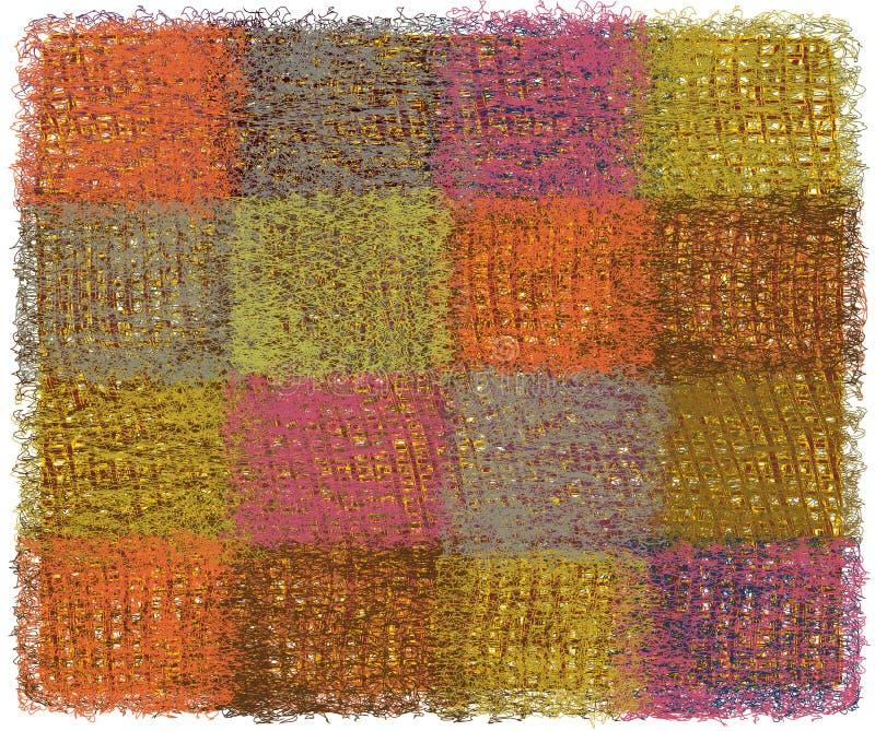 Couverture de laine avec les éléments rectangulaires d'armure colorée illustration stock