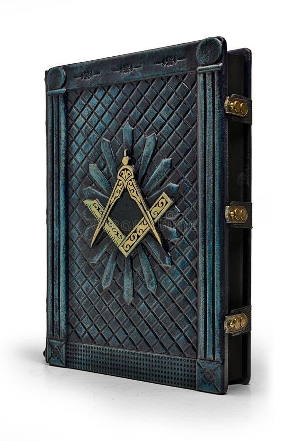 Couverture de livre en cuir bleu-foncé âgée avec le symbole de place et de boussole sur la couverture photo stock