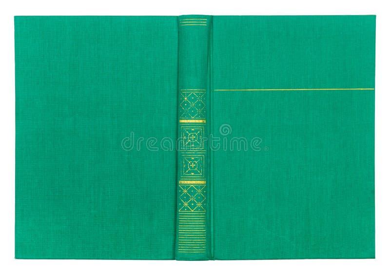 Couverture de Livre vert de textile de vintage avec le modèle d'or photo stock