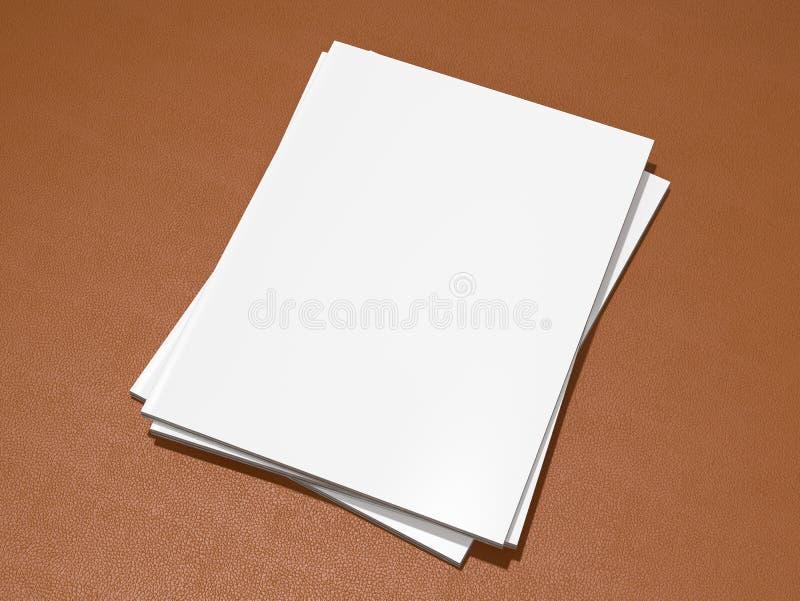 Couverture de magazine avec la maquette vide de page blanc sur le substrat en cuir illustration de vecteur