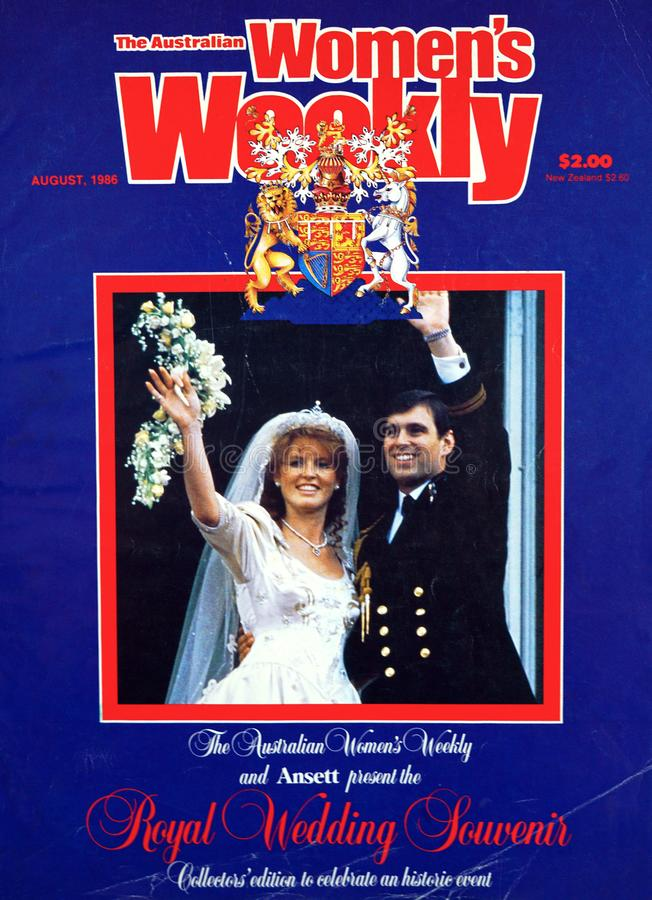 Couverture de magazine l'épousant royale hebdomadaire du souvenir des femmes australiennes, août 1986 image stock