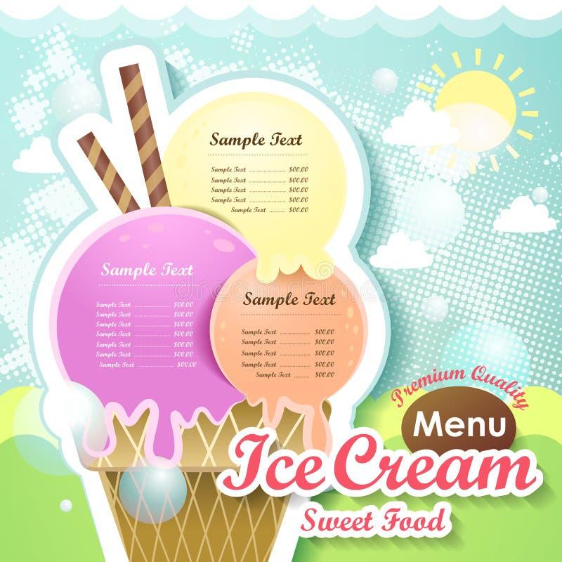Couverture de menu de crème glacée  illustration libre de droits