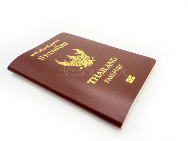 Couverture de passeport de la Thaïlande, citoyen d'identification d'isolement sur W image stock