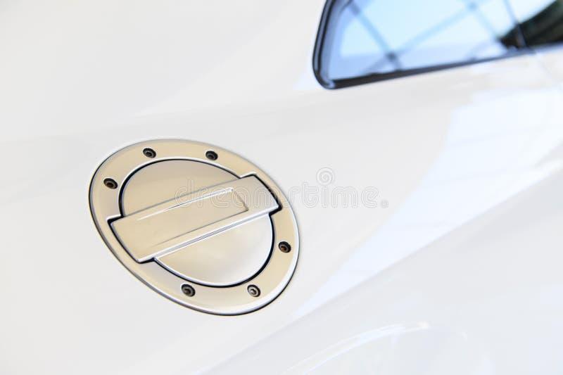 Couverture de réservoir de carburant de la voiture de course blanche photo libre de droits
