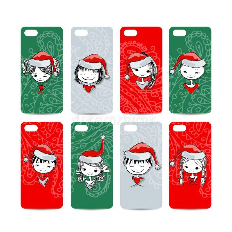 Couverture de téléphone portable de retour Filles de Santa pour le votre illustration de vecteur