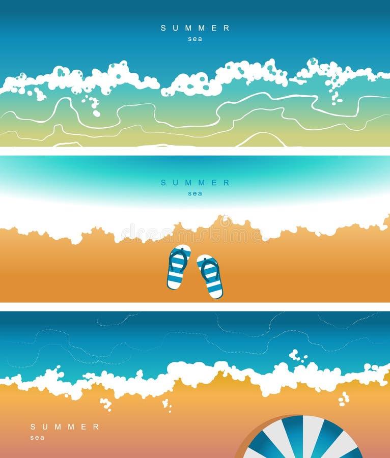 Couverture de vecteur pour les réseaux sociaux, en-tête avec une humeur d'été, avec l'image de la mer illustration libre de droits