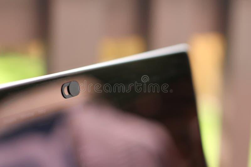 Couverture de webcam pour l'ordinateur portable, la table ou le téléphone images libres de droits