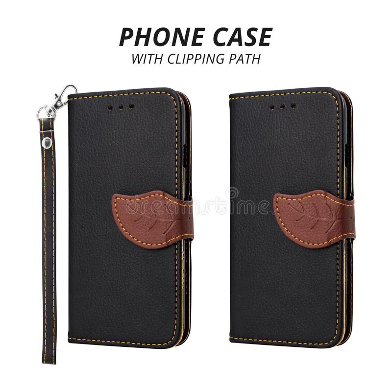 Couverture en cuir de téléphone portable d'isolement sur le fond blanc Caisse noire de téléphone pour la conception Chemin de cou photo libre de droits
