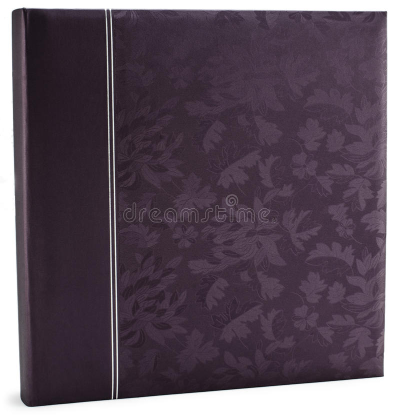 Couverture en cuir pourpre d'album photos d'isolement photographie stock libre de droits