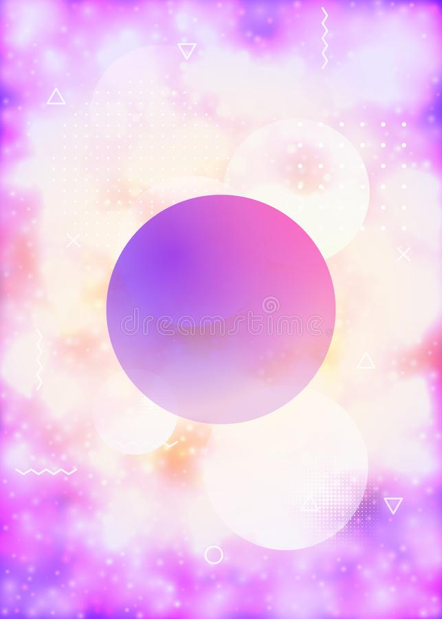 Couverture pourpre avec des formes au n?on liquides Fluide lumineux Fond fluorescent avec le gradient de bauhaus illustration de vecteur