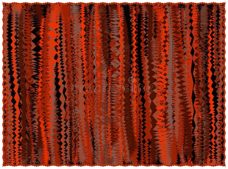 Couverture rayée grunge dans des couleurs oranges, brunes, noires avec la frange illustration stock