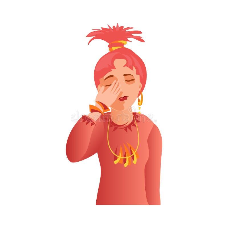 Couverture rouge mignonne de fille de mode de cheveux son visage triste illustration libre de droits