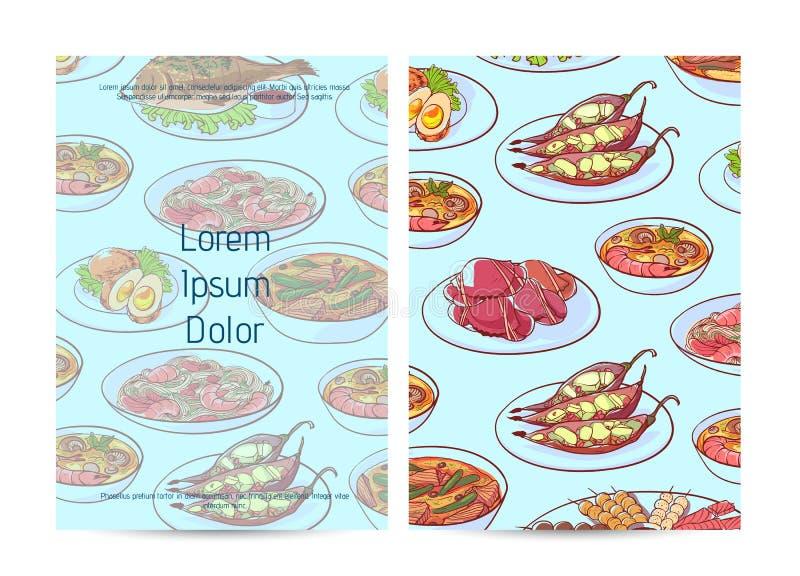 Couverture thaïlandaise de menu de restaurant de nourriture avec les plats asiatiques illustration libre de droits