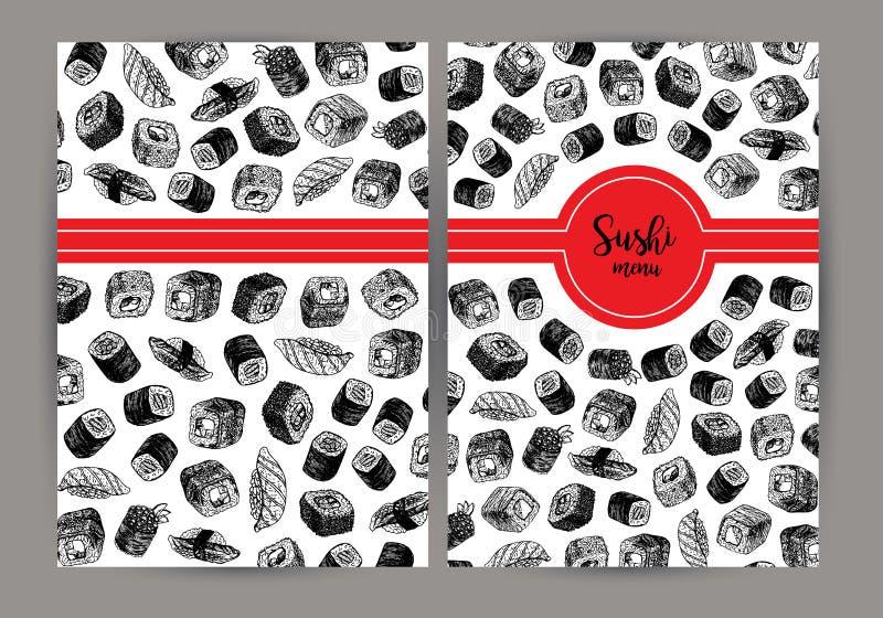 Couverture tirée par la main avec des sushi fond de vecteur avec des croquis illustration stock