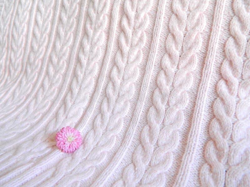 Couverture tricotée par rose image stock