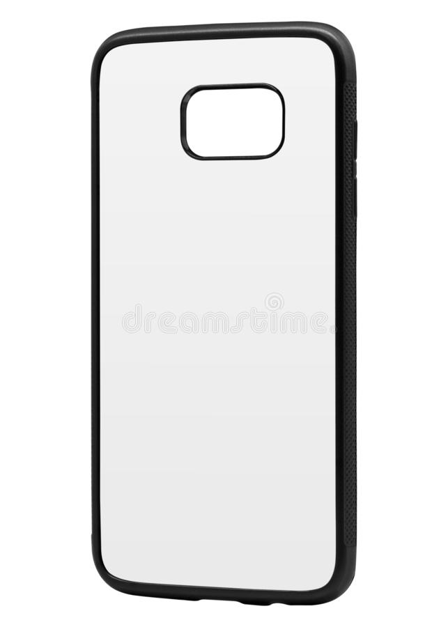 Couverture vide de téléphone d'isolement sur le fond blanc Calibre de caisse de smartphone pour la conception Chemin de coupure illustration de vecteur