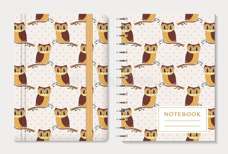 Couvertures de carnet avec des hiboux Ensemble de vecteur illustration libre de droits
