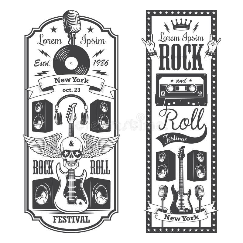 2 couvertures de flayer de musique de rock illustration de vecteur